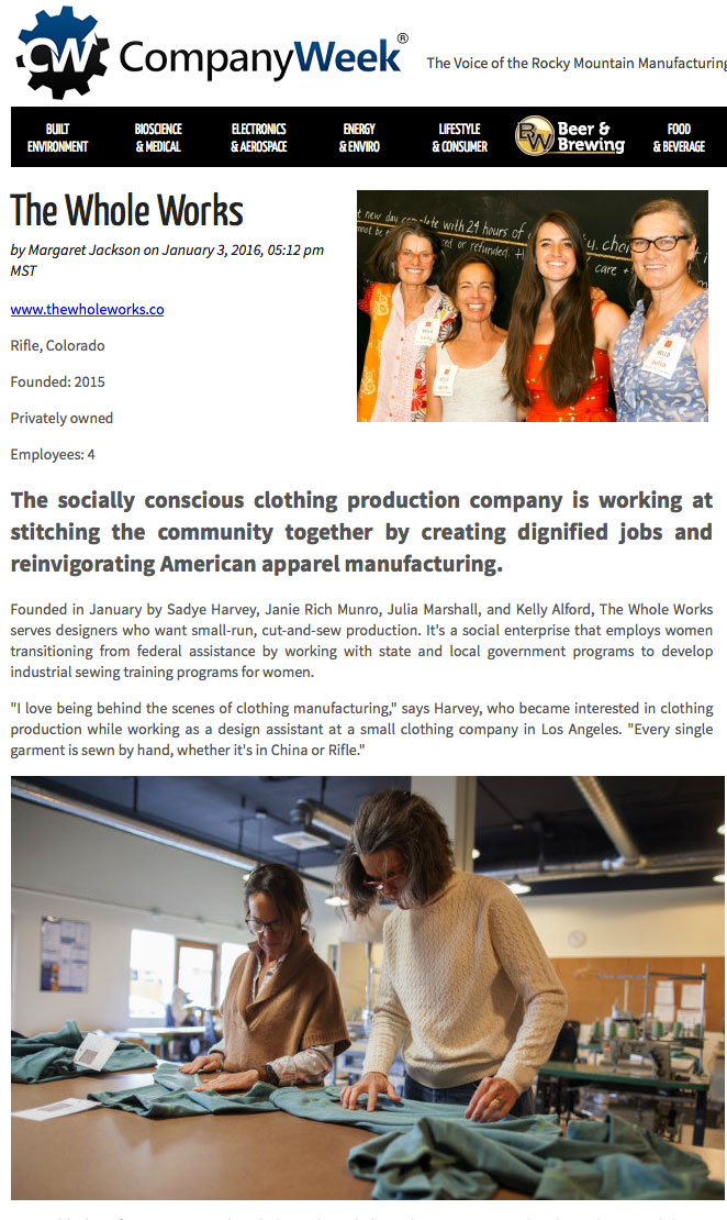 The socially conscious clothing production company is working at stitching the community together.