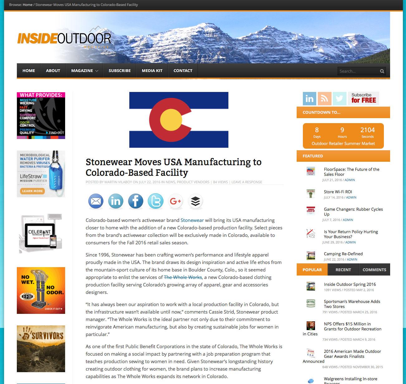 Stonewear Moves USA Manufacturing to Colorado-Based Facility