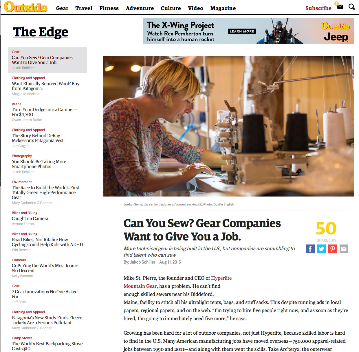 Can You Sew? Gear Companies Want to Give You a Job.